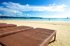 Beach view with recliner in Boracay Royalty Free Stock Photography