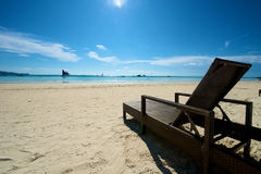 Beach view with recliner in Boracay Royalty Free Stock Photo
