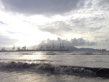 Beach view. Of ship port area Royalty Free Stock Image