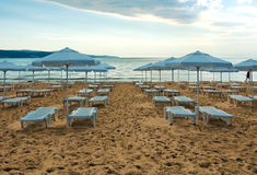 Beach view in Sunny Beach. Bulgaria Royalty Free Stock Images