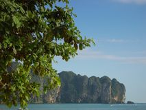 Beach view in Thailand. At the beach at Ao Nang, near Krabi and Phi Phi islands Royalty Free Stock Photography
