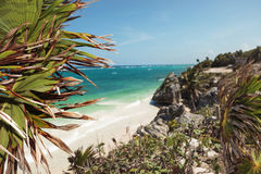 Beach view from Tulum. Royalty Free Stock Photo