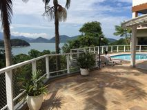 Beach view. Ubatuba beach view from pool  Brazil Royalty Free Stock Image
