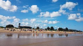 Beach View @ Umina beach, Australia. Beautiful beach view with blue sky and white clouds at Umina Beach, Australia royalty free stock image