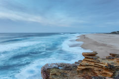 Beach View from the waves of Nazare. Stock Photos