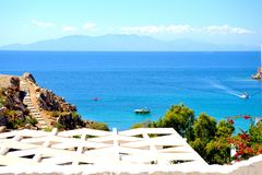 Beach view from a window. Mykonos, Greece. stock images
