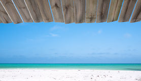 Beach view from a wooden hut Stock Images