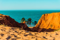 Beach viewed from the cliffs of Morro Branco, Ceará, northeast Brazil. stock images