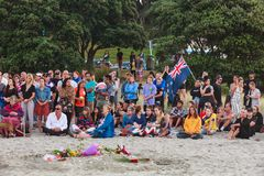 Beach vigil for victims of Christchurch terror attack, New Zealand royalty free stock photo