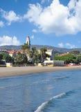 Diano Marina,italian Riviera,Liguria,Italy. Beach and Village of Diano Marina at italian Riviera near San Remo,Liguria,mediterranean Sea,Italy Royalty Free Stock Images