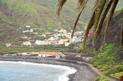 The beach of the village Hermigua on La Gomera Royalty Free Stock Photo