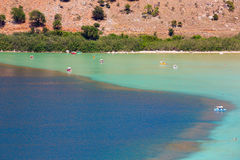 Beach in village Kavros in Crete  island, Greece. Magical turquoise waters, lagoons. Stock Photos