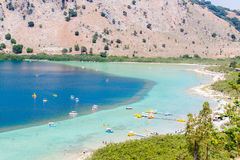 Beach in village Kavros in Crete  island, Greece. Magical turquoise waters, lagoons. Royalty Free Stock Photos
