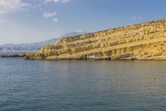 Matala Beach. Beach in the village Matala , Crete , Greece , Europe . At sanset Time Stock Images