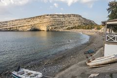 Matala Beach. Beach in the village Matala , Crete , Greece , Europe . At sanset Time Royalty Free Stock Photo