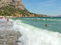 Beach in the village of New World in the Crimea Stock Photography