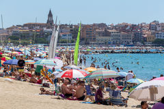 Beach of village Palamos in Spain Stock Photo