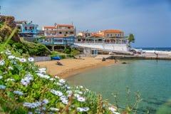 Beach and village of Panormos, Crete Greece. Beach and village of Panormos, Crete, Greece Stock Photography