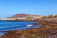 Beach and village  of Playa Blanca Stock Photo