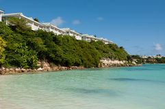 Beach and villas Stock Photography