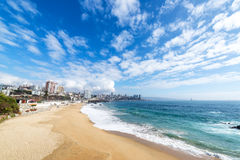Beach in Vina del Mar. View of the beach in the coastal city of Vina del Mar, Chile royalty free stock image