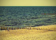 Beach, vintage retro instagram effect, Poland. Royalty Free Stock Photo