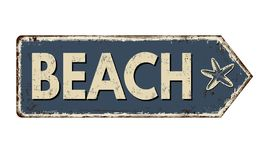 Free Beach Vintage Rusty Metal Sign Stock Image - 143244671