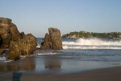 Beach Vista. Playa Principal at Puerto Escondido, Mexico royalty free stock image