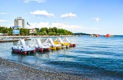 The Vodice beach, Croatia. The beach of Vodice on the islands background , Croatia royalty free stock photos