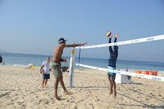 Beach volbleyball in Ipanema Royalty Free Stock Photos