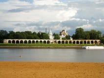 Beach, Volkhov river, ancient shopping arcade stock photo