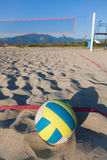 Beach Volley. Selective Focus View of Beach Volley Ball next to playground Stock Photos