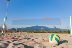 Beach Volley. Selective Focus View of Beach Volley Ball next to playground Stock Image
