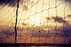 Beach Volley ball background during sunset Royalty Free Stock Images
