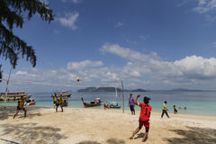 Beach Volley Ball competition on the Beach. Trang, Thailand - November 21, 2015: Beach Volleyball Competition at Koh Kradan in Trang - Thailand. Beach Volleyball Stock Photography
