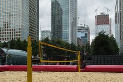 Beach volley ball court in Canary Wharf royalty free stock photos
