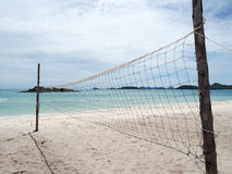 Beach volley ball court in the island Royalty Free Stock Photos