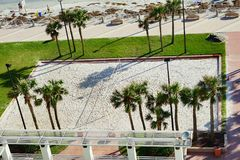 Beach volley ball field in daytona beach. Ocean view hotel, Florida, USA Royalty Free Stock Photo
