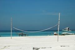 Beach volley ball net. Volley ball net on white sandy beach in Tortugas,Venezuela Stock Photos