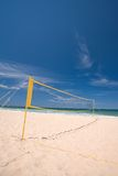 Beach volley ball net. A beach volley ball net at the beach on a sunny day Stock Photography
