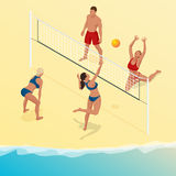Beach volley ball player jumps on the net and tries to blocks the ball. Summer active holiday concept. Vector isometric Stock Images