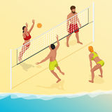 Beach volley ball player jumps on the net and tries to blocks the ball. Summer active holiday concept. Vector isometric Royalty Free Stock Photography