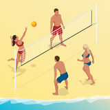 Beach volley ball player jumps on the net and tries to blocks the ball. Summer active holiday concept. Vector isometric Royalty Free Stock Images