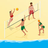 Beach volley ball player jumps on the net and tries to blocks the ball. Summer active holiday concept. Vector isometric Royalty Free Stock Image
