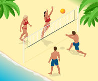 Beach volley ball player jumps on the net and tries to blocks the ball. Summer active holiday concept. Vector isometric Stock Photo