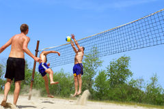 Beach volley - fight at net Stock Images