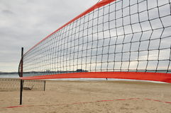 Beach volley net. On septembers black sea beach Stock Photography