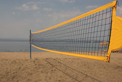 Beach volley: Net on the beach Stock Image