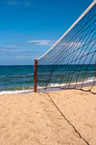 Beach volley net, blue sky and sea Royalty Free Stock Image