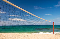 Beach volley net, blue sky and sea Stock Photography
